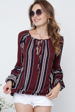 Adora Burgundy Striped Blouse - Product List Image