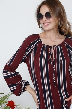 Adora Burgundy Striped Blouse - Alternate List Image