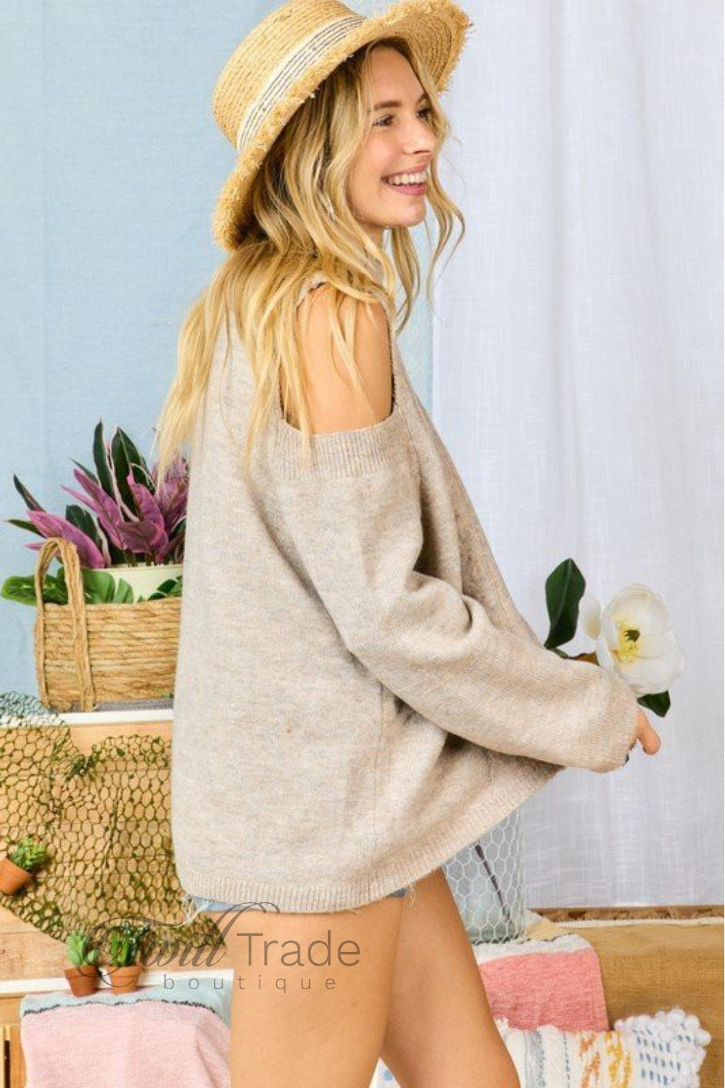 Adora Cable-Knit Cold-Shoulder Sweater - Side Cropped Image