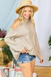 Adora Cable-Knit Cold-Shoulder Sweater - Other