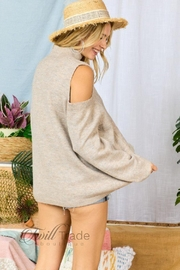 Adora Cable-Knit Cold-Shoulder Sweater - Front full body