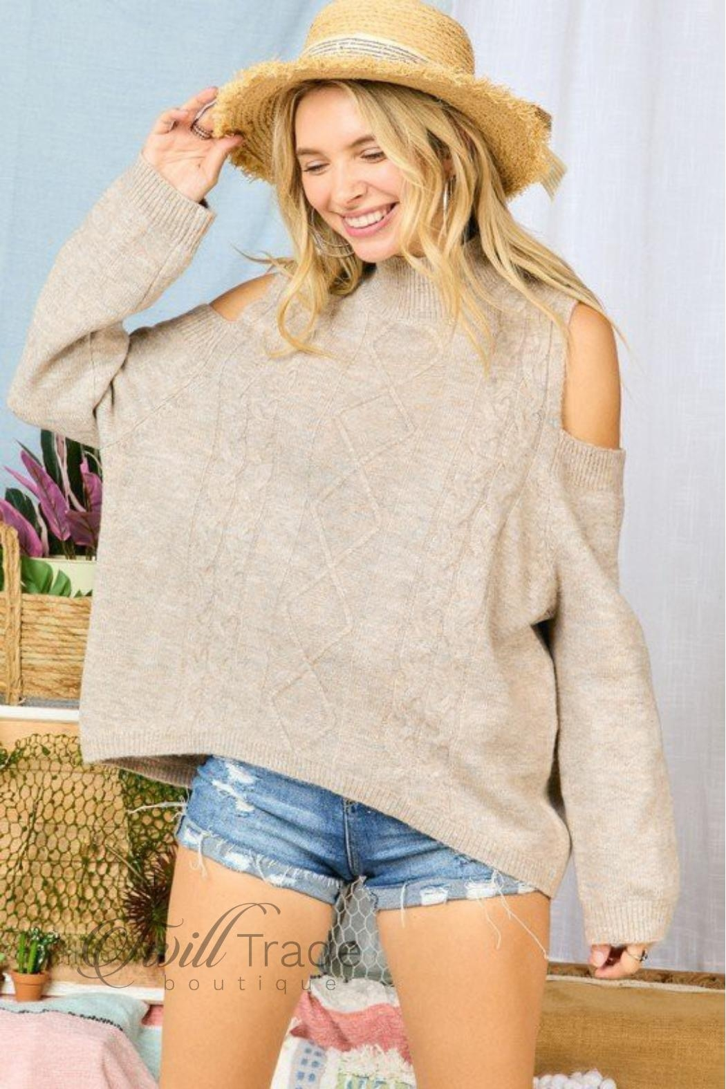Adora Cable-Knit Cold-Shoulder Sweater - Main Image