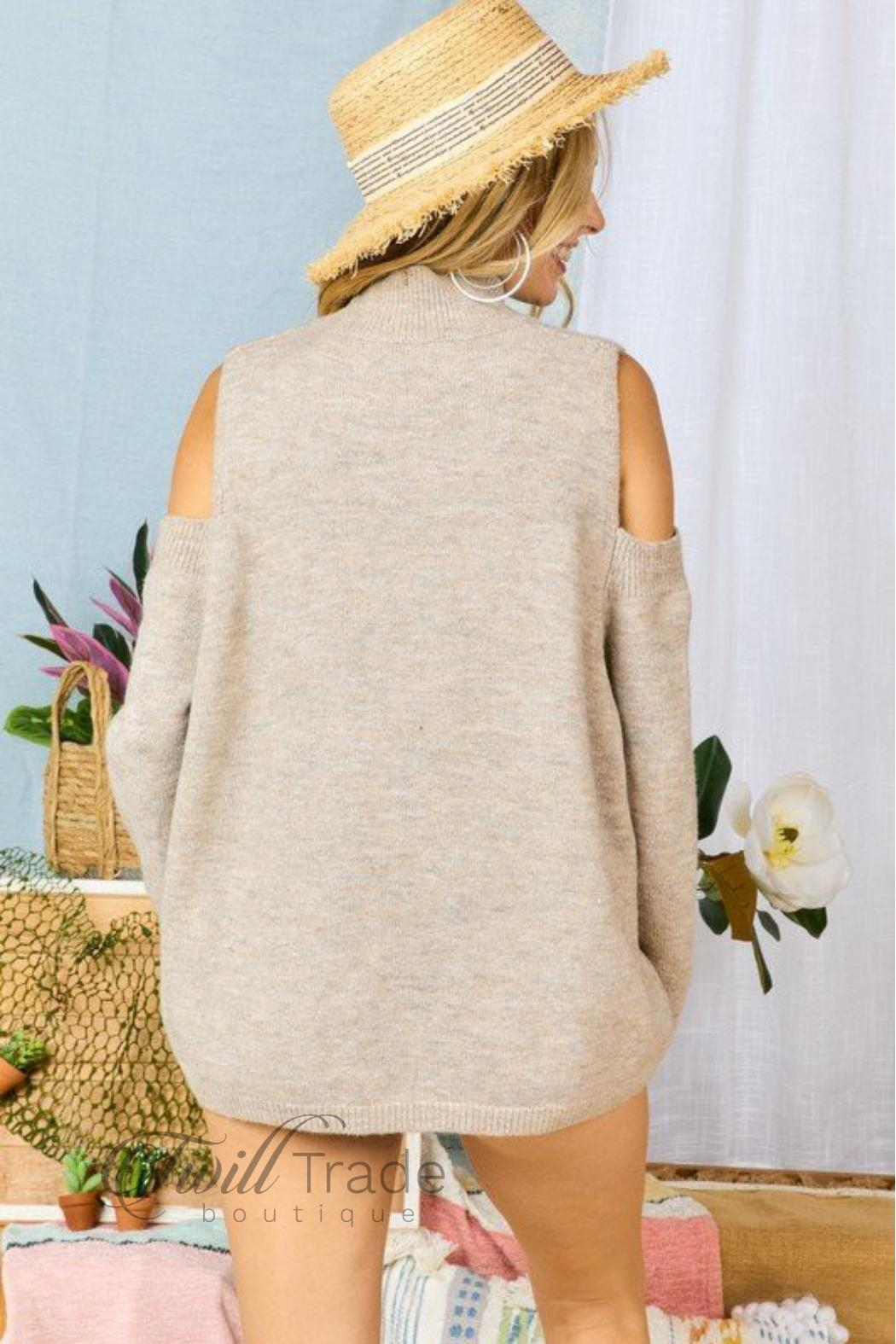 Adora Cable-Knit Cold-Shoulder Sweater - Back Cropped Image