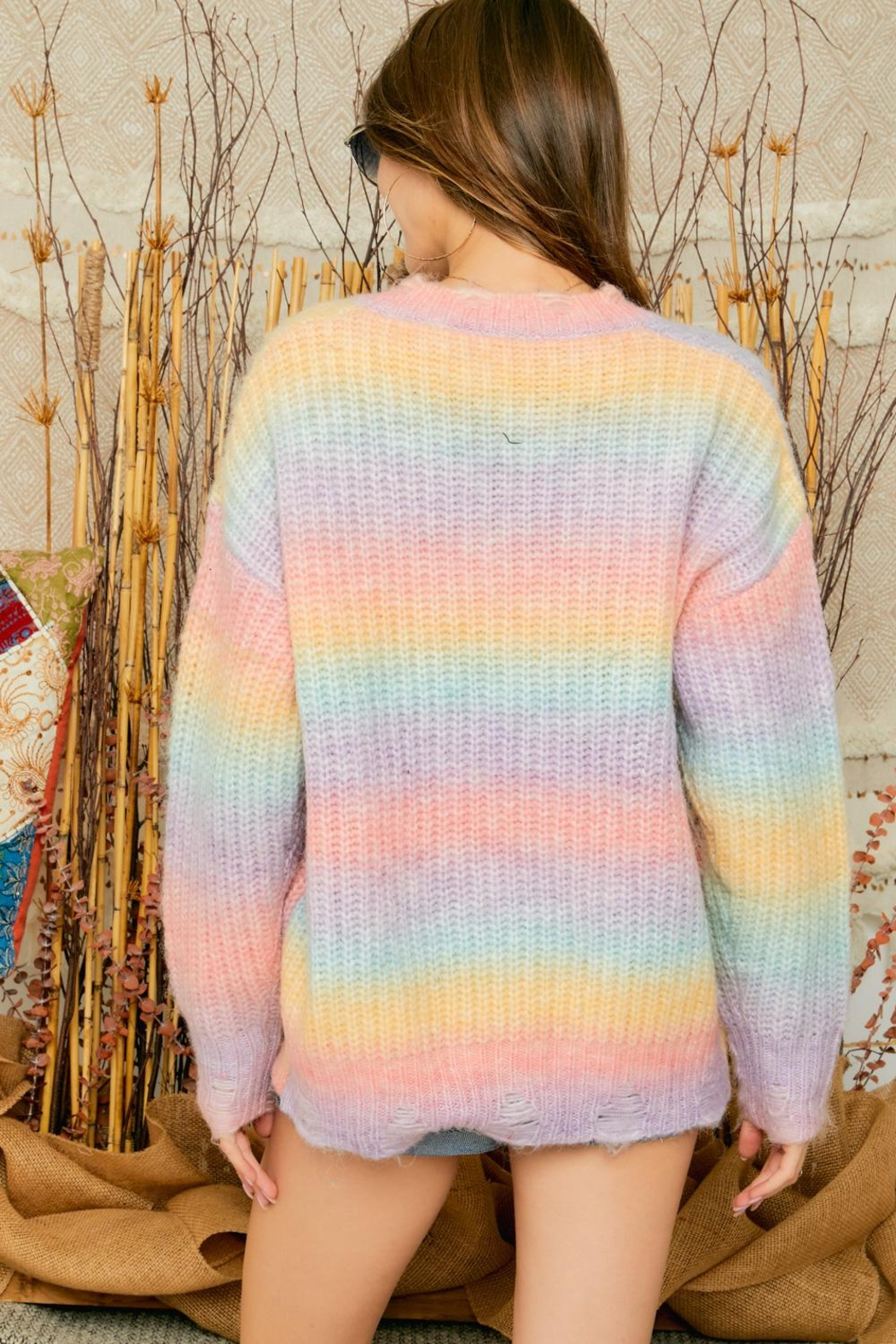 Adora Cotton Candy Ombre Tie Dye V Neck Distressed Knit Sweater Jumper - Back Cropped Image
