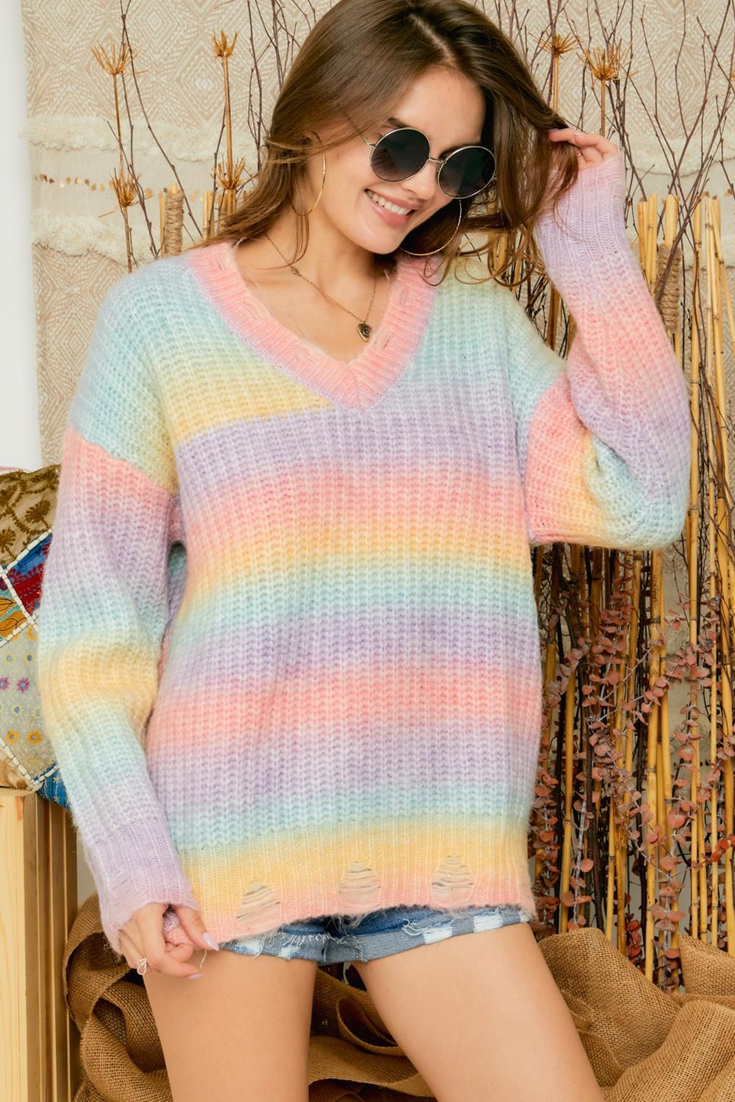 Adora Cotton Candy Ombre Tie Dye V Neck Distressed Knit Sweater Jumper - Main Image