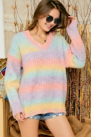 Adora Cotton Candy Ombre Tie Dye V Neck Distressed Knit Sweater Jumper - Front cropped