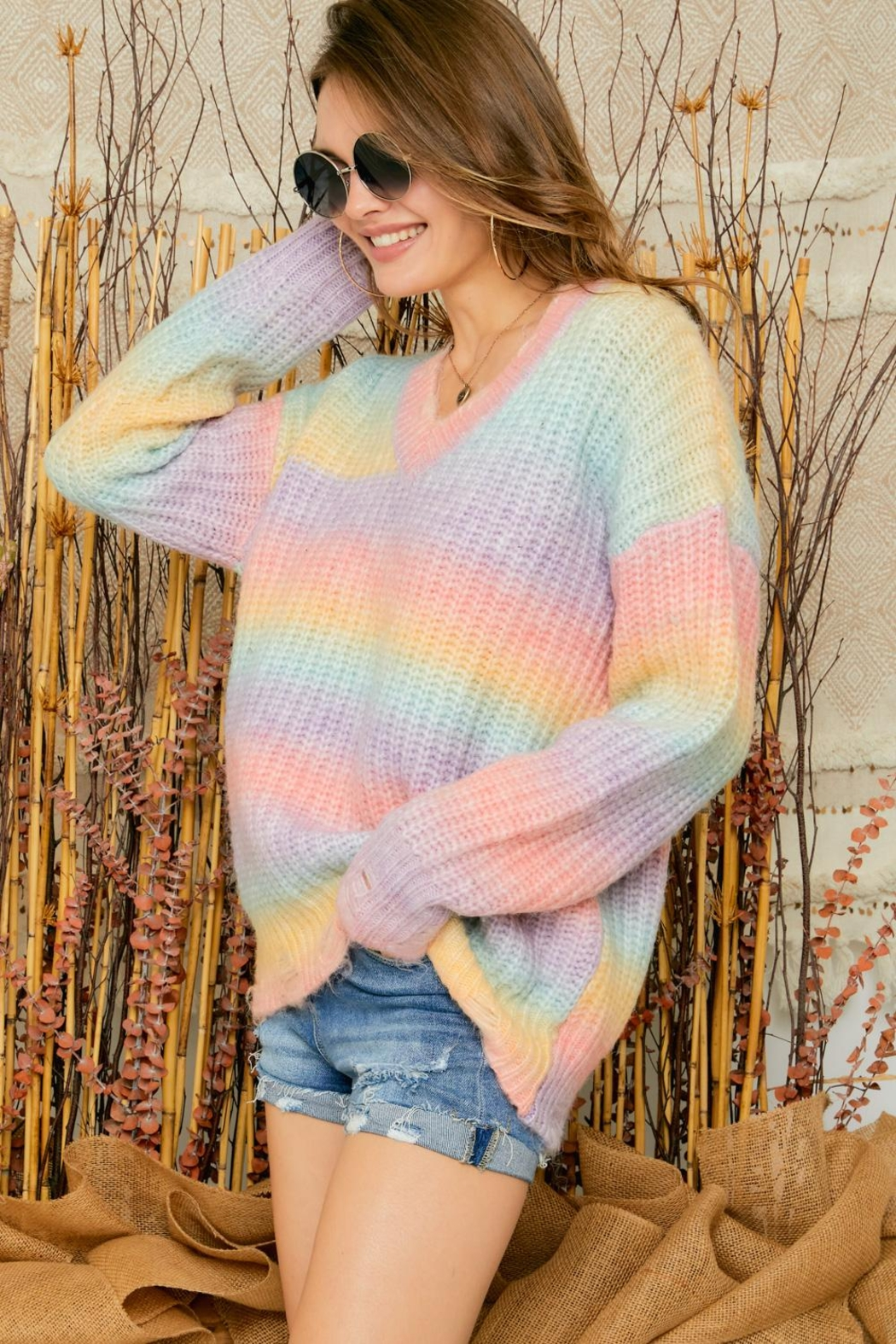 Adora Cotton Candy Ombre Tie Dye V Neck Distressed Knit Sweater Jumper - Front Full Image
