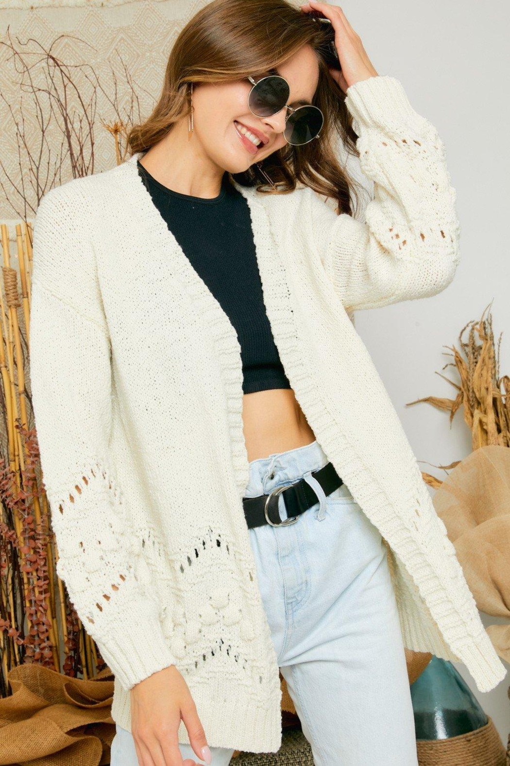 Adora Cozy Pom Pom & Pointelle Detailed Knit Sweater Cardigan - Front Full Image
