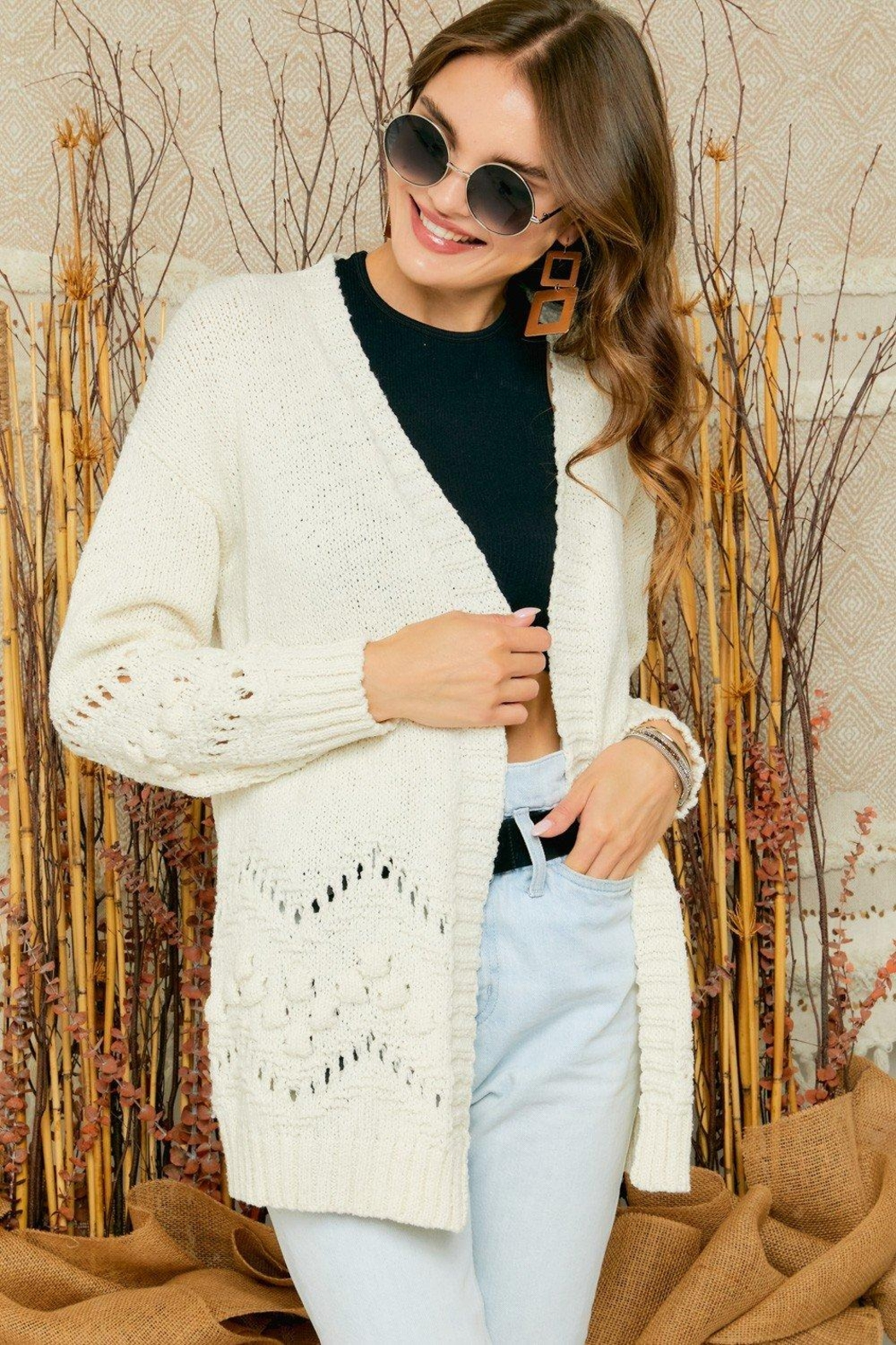 Adora Cozy Pom Pom & Pointelle Detailed Knit Sweater Cardigan - Front Cropped Image