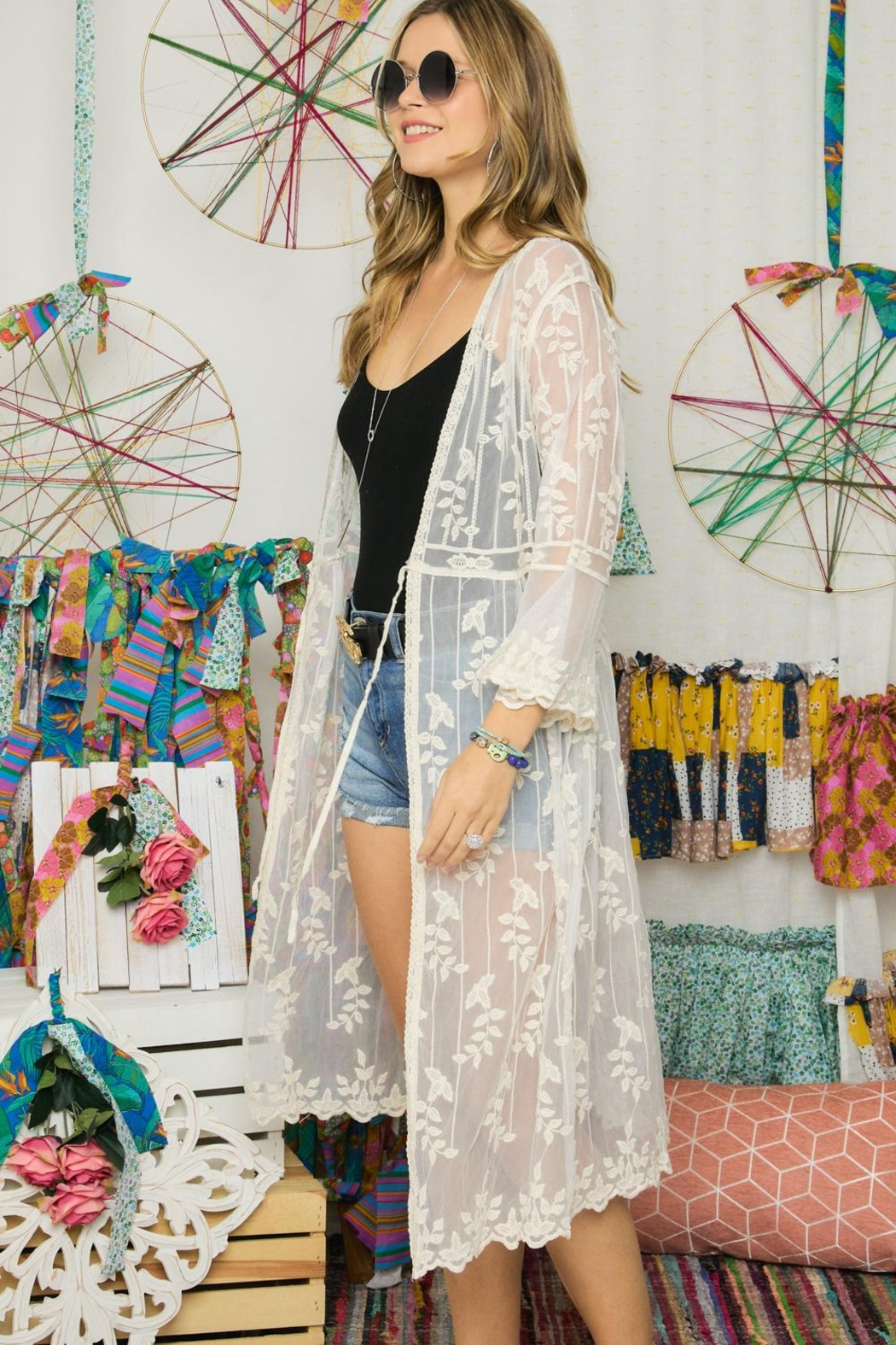 Adora Embroidered Lace Duster Kimono Robe - Front Cropped Image
