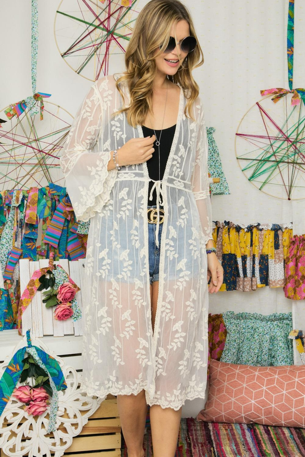 Adora Embroidered Lace Duster Kimono Robe - Back Cropped Image