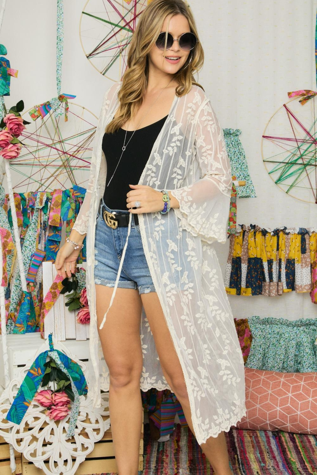 Adora Embroidered Lace Duster Kimono Robe - Front Full Image