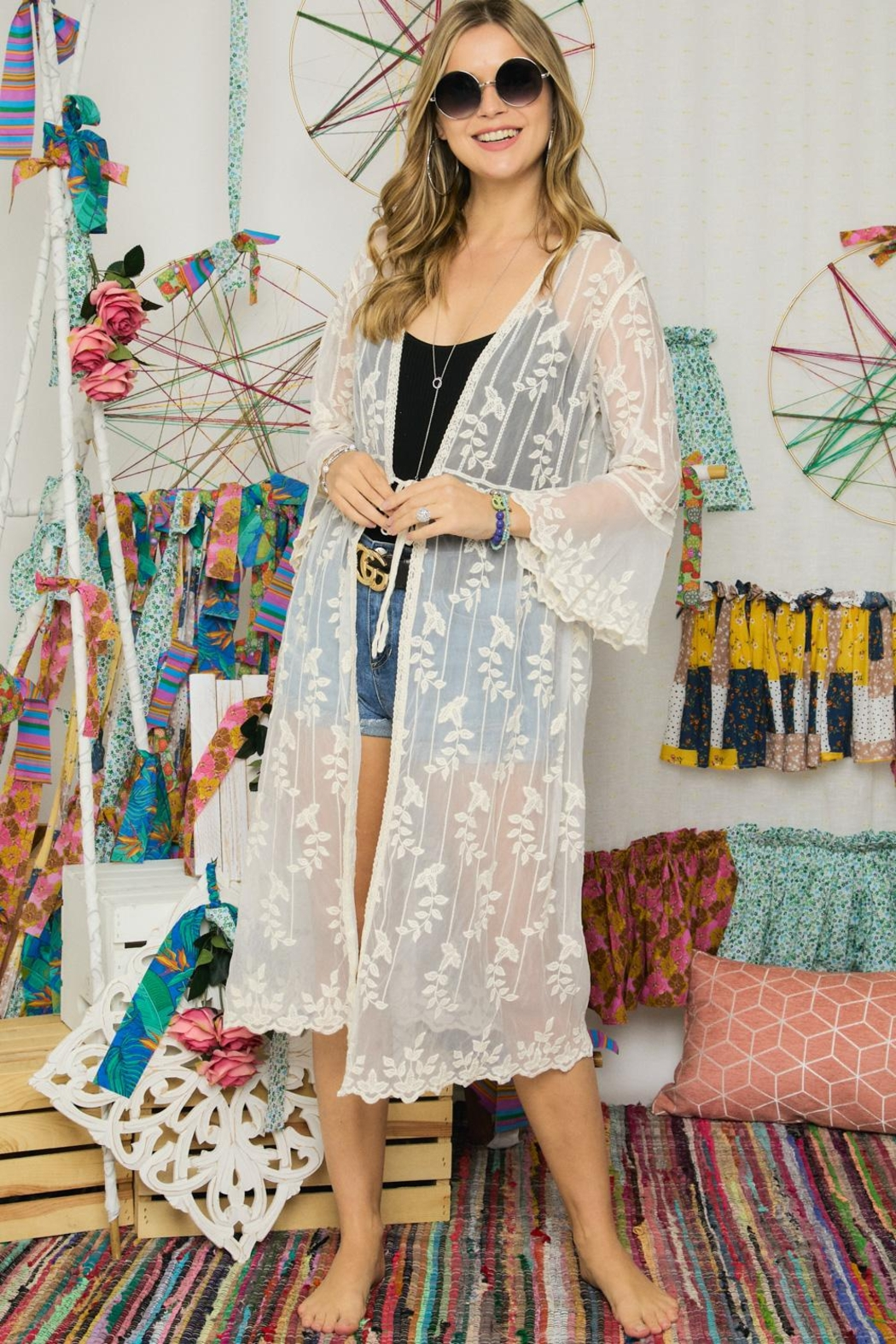 Adora Embroidered Lace Duster Kimono Robe - Side Cropped Image
