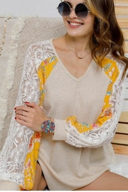 Adora Fabric Mix Knit Tunic Top - Product Mini Image