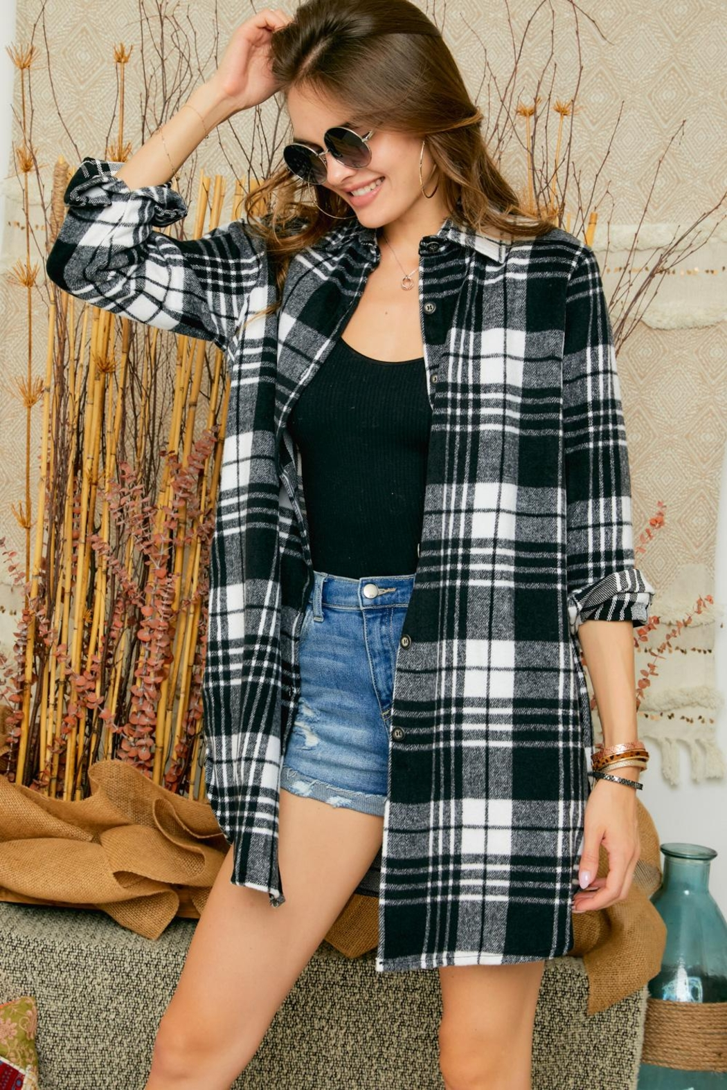 Adora Flannel Lumberjack Checkered Plaid Work Shirt Jacket Shacket - Front Cropped Image