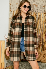 Adora Flannel Lumberjack Checkered Plaid Work Shirt Jacket Shacket - Front full body