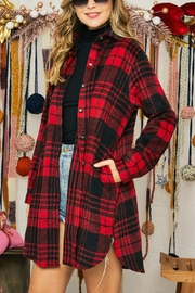Adora Flannel Lumberjack Checkered Plaid Work Shirt Jacket Shacket - Front cropped