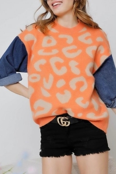 Adora Leopard & Denim Sweater - Product List Image