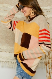 Adora Multi Color Block And Stripe Knit Sweater Jumper - Back cropped
