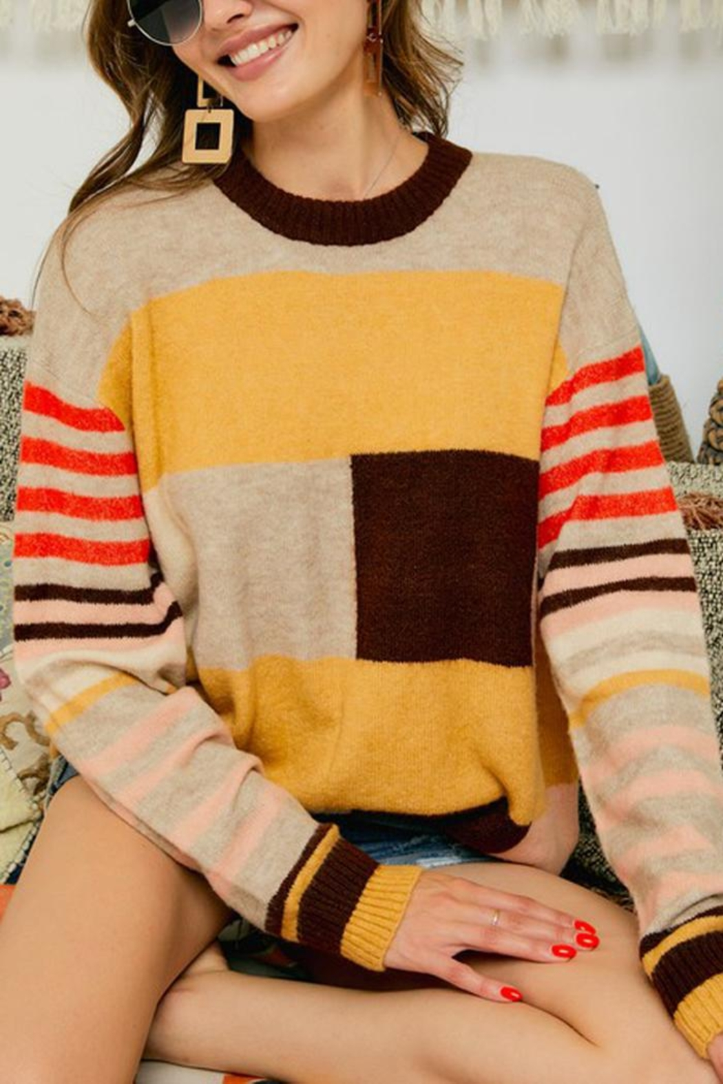 Adora Multi Color Block And Stripe Knit Sweater Jumper - Front Full Image