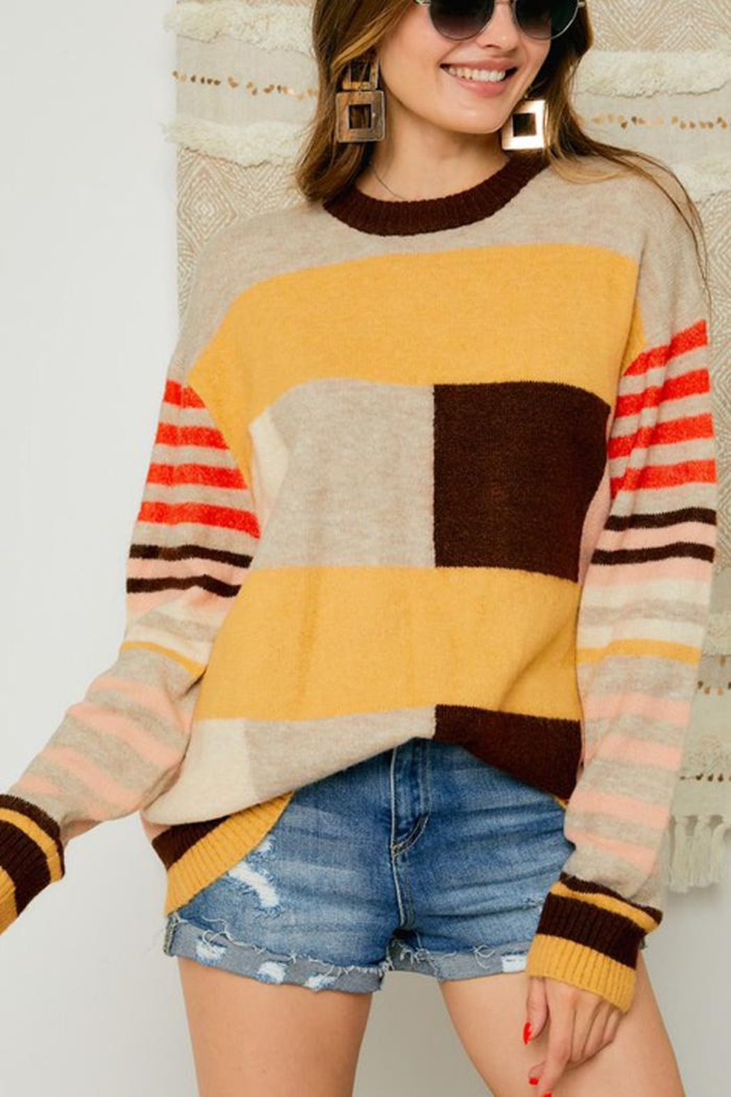 Adora Multi Color Block And Stripe Knit Sweater Jumper - Main Image