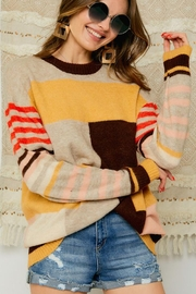 Adora Multi Color Block And Stripe Knit Sweater Jumper - Side cropped