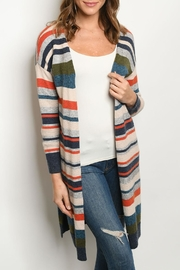 Adora Multi-Color Striped Cardigan - Front cropped