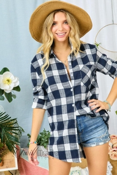 Adora Navy Ivory Flannel - Product List Image