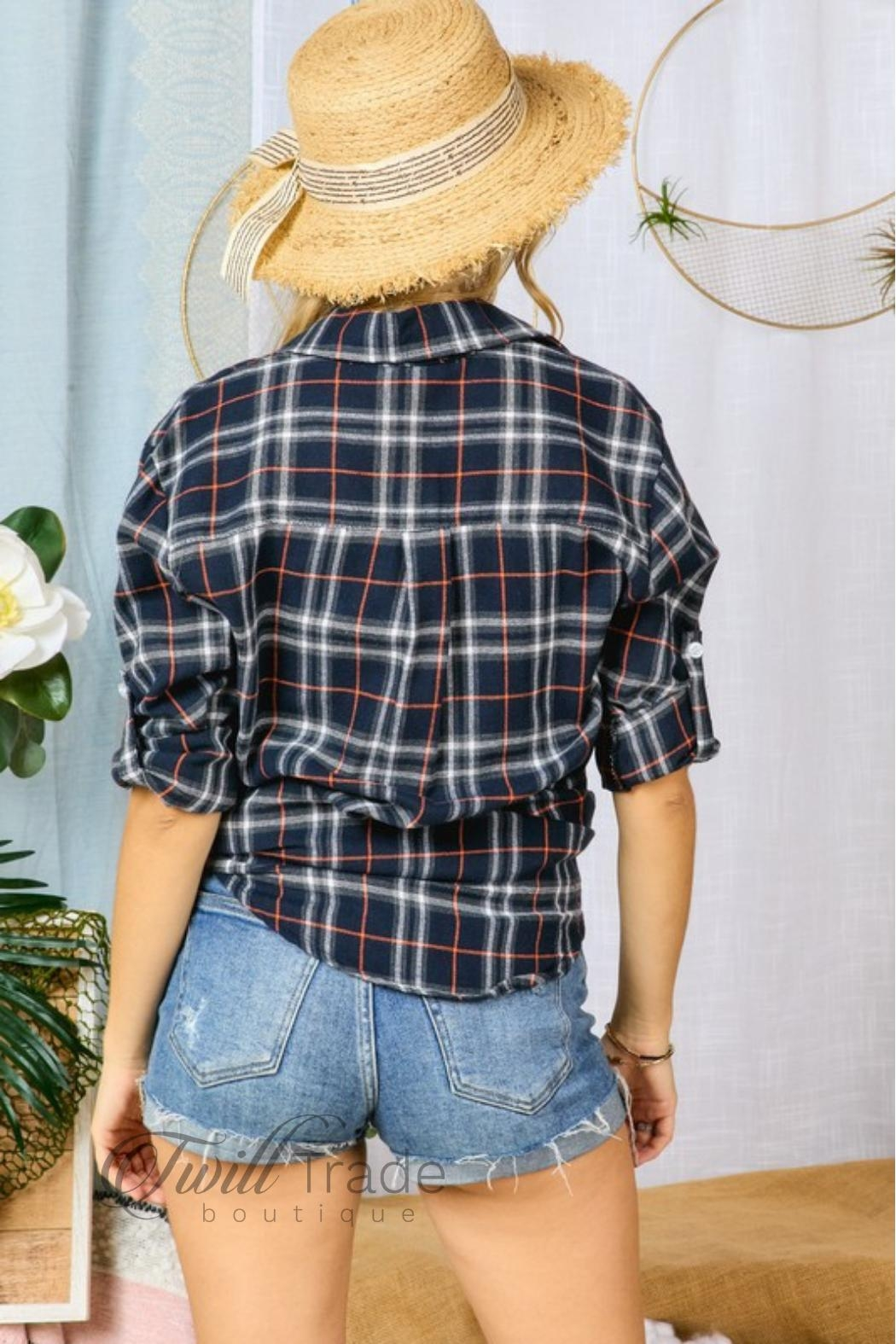 Adora Navy Plaid Flannel - Back Cropped Image
