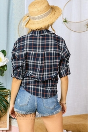 Adora Navy Plaid Flannel - Back cropped
