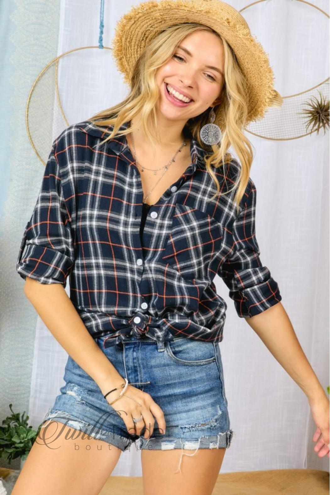 Adora Navy Plaid Flannel - Front Full Image
