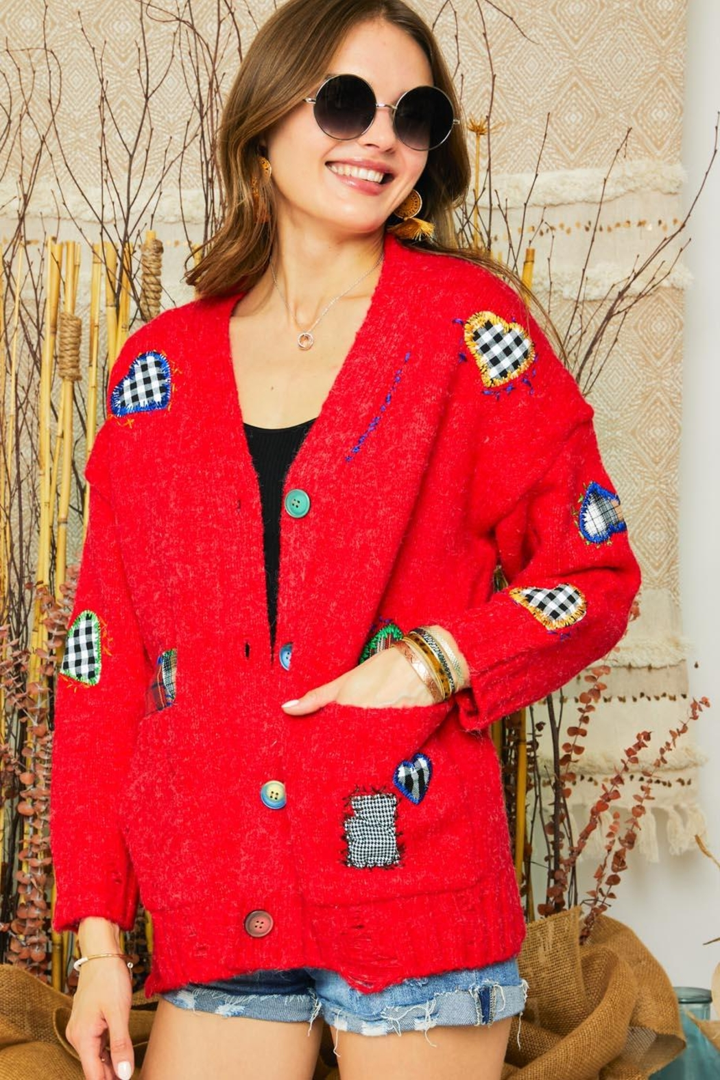 Adora Patchwork Embroidered Patch Multi Color Button Down Knit Sweater Cardigan - Front Full Image