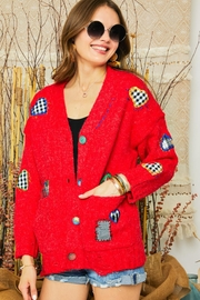 Adora Patchwork Embroidered Patch Multi Color Button Down Knit Sweater Cardigan - Front full body