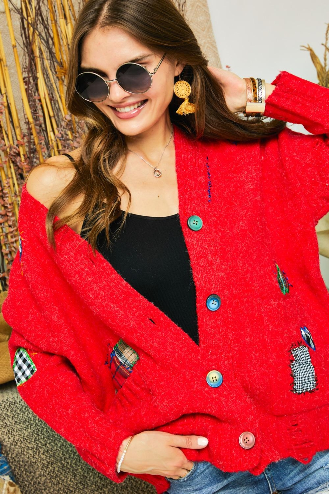 Adora Patchwork Embroidered Patch Multi Color Button Down Knit Sweater Cardigan - Back Cropped Image