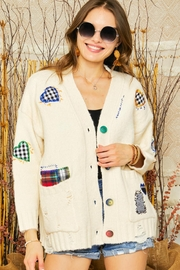 Adora Patchwork Embroidered Patch Multi Color Button Down Knit Sweater Cardigan - Other