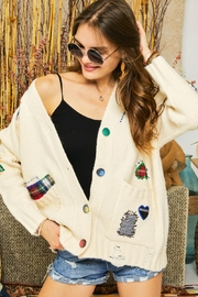 Adora Patchwork Embroidered Patch Multi Color Button Down Knit Sweater Cardigan - Side cropped