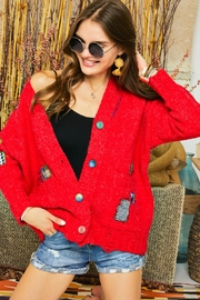 Adora Patchwork Embroidered Patch Multi Color Button Down Knit Sweater Cardigan - Back cropped