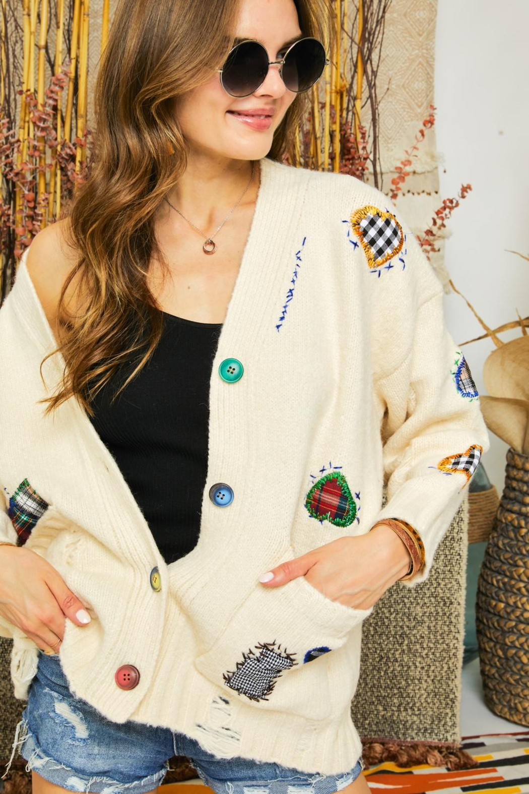 Adora Patchwork Embroidered Patch Multi Color Button Down Knit Sweater Cardigan - Front Cropped Image