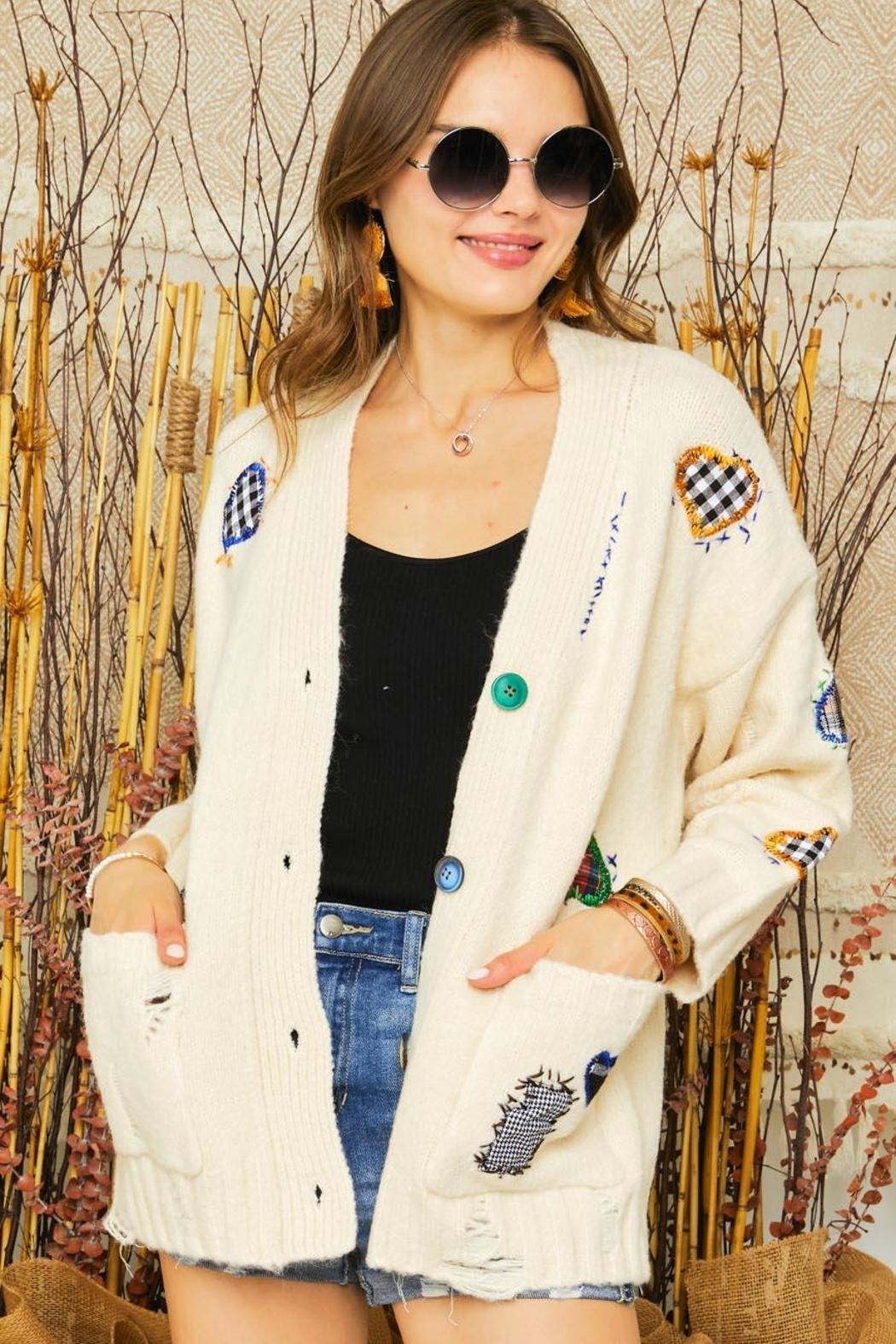 Adora Patchwork Embroidered Patch Multi Color Button Down Knit Sweater Cardigan - Side Cropped Image