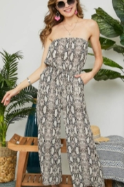Adora Snake Skin Strapless Jumpsuit - Product Mini Image