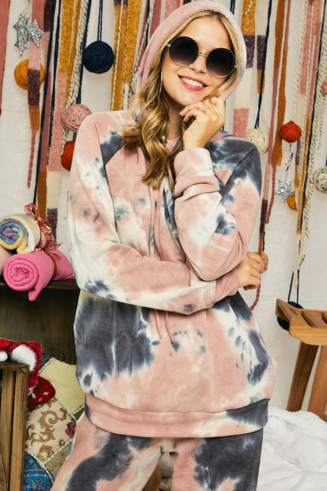Adora Soft Tie Dye Fleeced French Terry Hoodie And Pants Loungewear Matching Set - Back Cropped Image