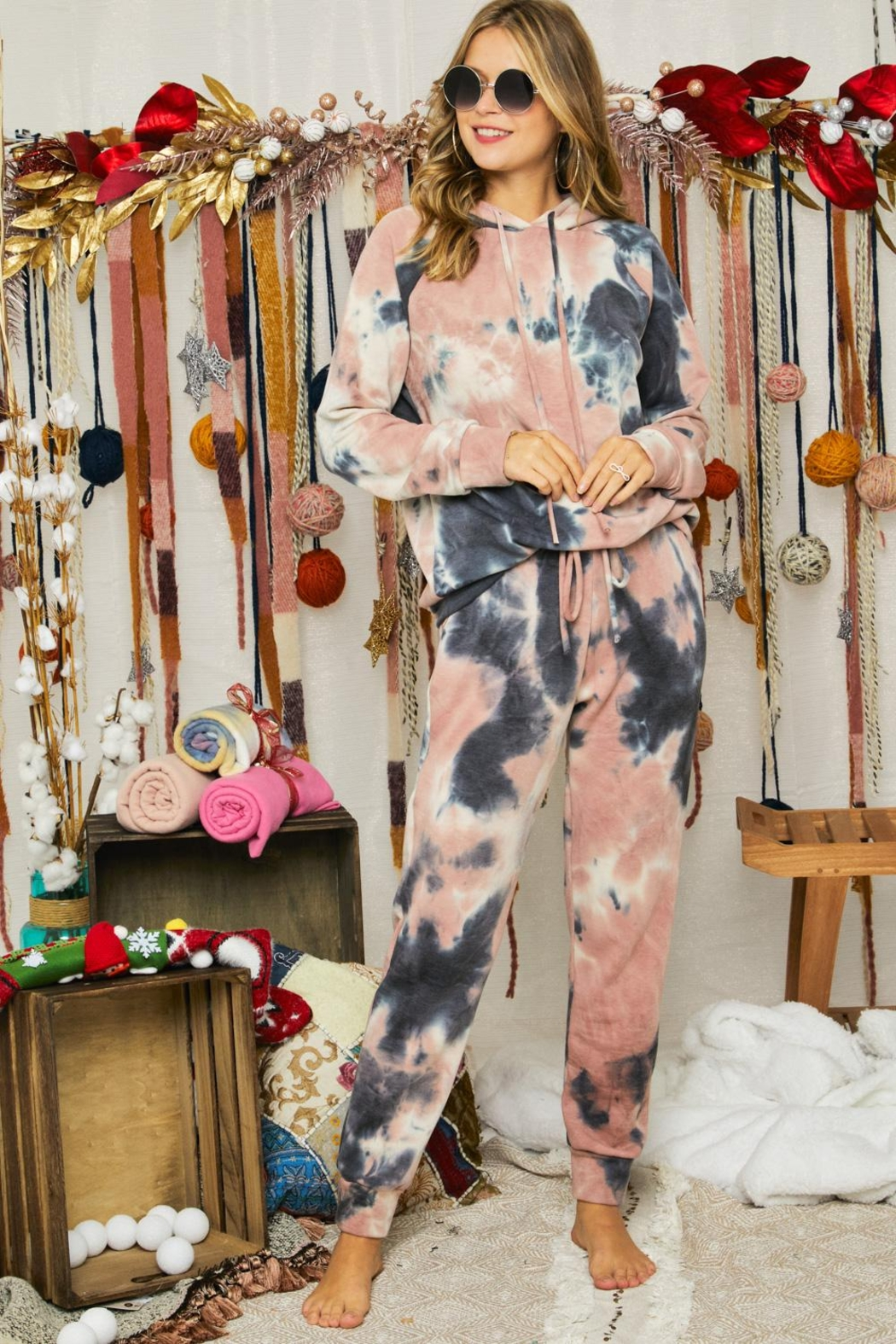 Adora Soft Tie Dye Fleeced French Terry Hoodie And Pants Loungewear Matching Set - Front Full Image