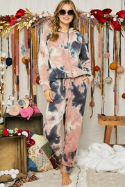 Adora Soft Tie Dye Fleeced French Terry Hoodie And Pants Loungewear Matching Set - Product Mini Image