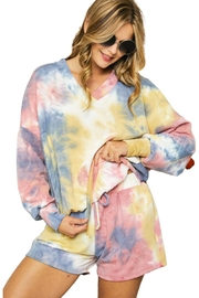 Adora Soft Tie Dye Fleeced French Terry V Neck Top And Shorts Loungewear Set - Product Mini Image