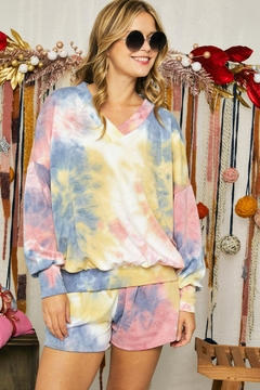 Adora Soft Tie Dye Fleeced French Terry V Neck Top And Shorts Loungewear Set - Alternate List Image