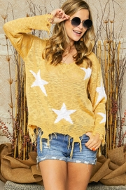 Adora Star Print Distressed Detail Lightweight Knit Sweater Jumper - Product Mini Image