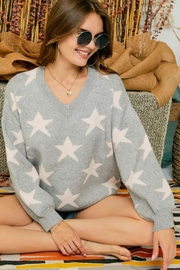 Adora Star Print Knit Oversized Pullover Sweater Top - Product Mini Image