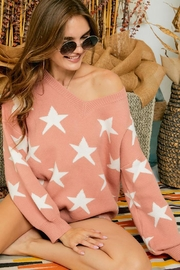 Adora Star Print Knit Oversized Pullover Sweater Top - Front full body