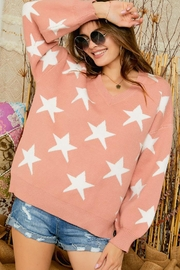 Adora Star Print Knit Oversized Pullover Sweater Top - Front cropped