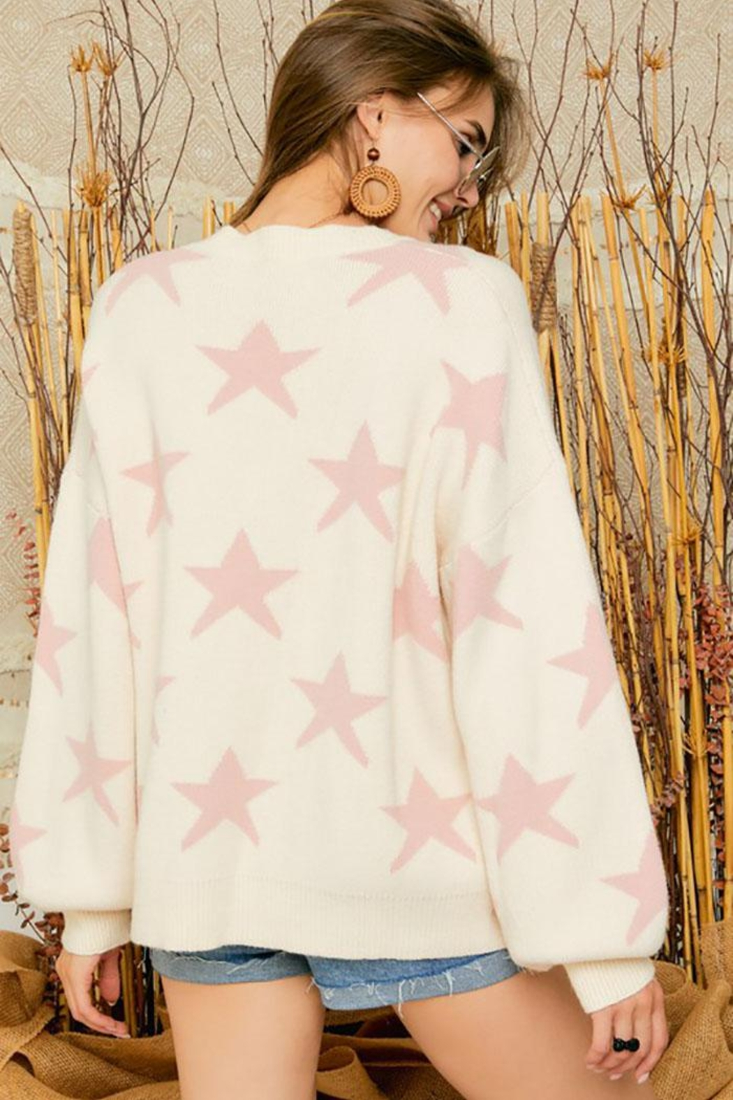 Adora Star Print Knit Oversized Pullover Sweater Top - Front Full Image
